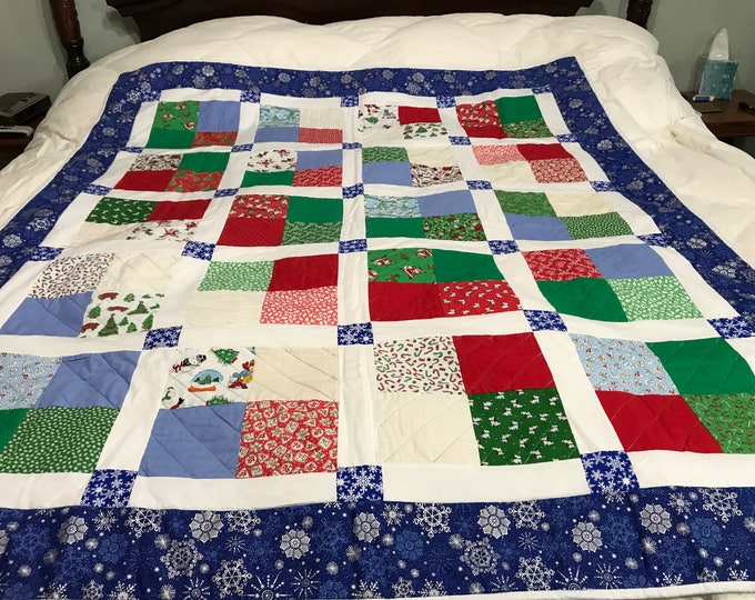 Quilted Throw Blanket, Quilted Lap Blanket, Quilted Throw, Patchwork Blanket, Winter Throw, Sofa Throw, Christmas Gift Family, Gift for Teen