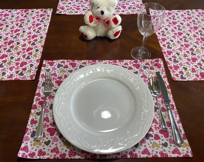 Valentines Day Placemats, Valentines Day Decor, Valentines Day Gift, Calico Hearts Placemats, Custom Table Linens, OOAK, Valentine Settings