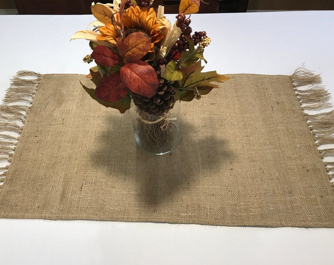 Burlap Table Runner, Rustic Burlap Table Runner, Wide Burlap Table Runner, Rustic Table Runner, Brown Table Runner, Housewarming Gift
