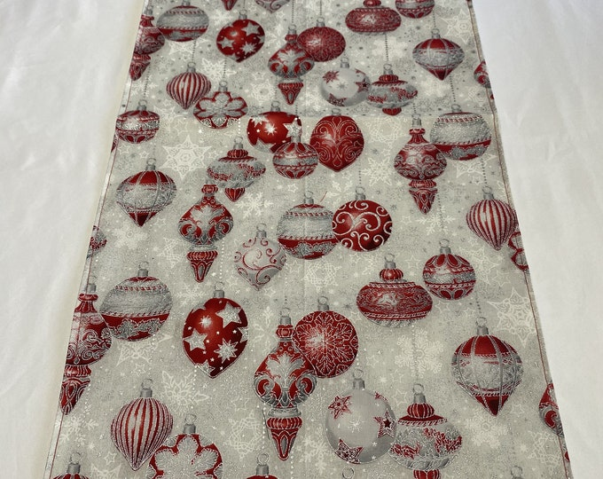 Ornament Table Runner, Christmas Table Runner, Christmas Ornament Table Runner, Red and Silver Ornaments, Office Party Gifts