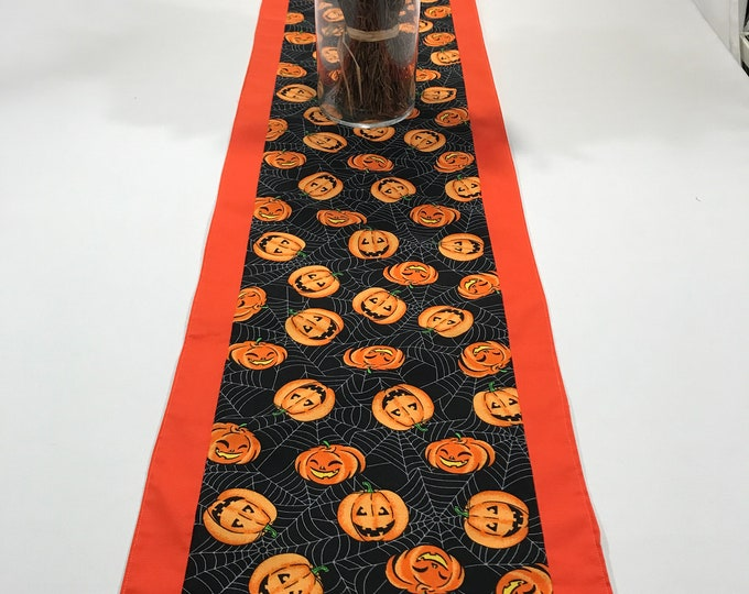 Orange Table Runner, Pumpkin Table Runner, Orange and Black Table Decor, Table Runner Orange, Halloween Table Topper, Jack O Lanterns