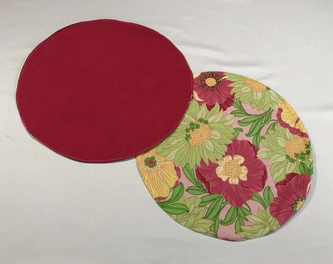 Round Placemats, Round Table Mats, Round Placemat Set, Reversible Placemats, Round Table Placemats, Housewarming Gifts, Wedding Gifts, OOAK
