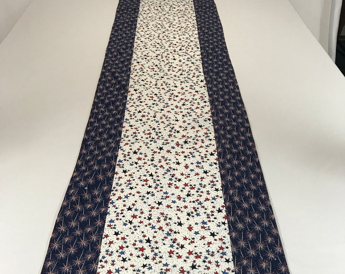 Blue and White Table Runner, Red White and Blue Table Runner, Red White Blue Stars, Patriotic Table Runner, 4th of July Table Runner