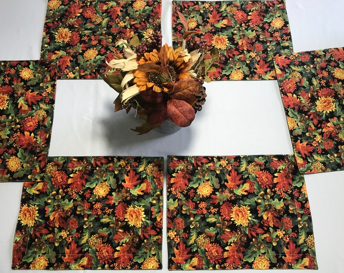 Fall Table Linens, Fall Table Mats, Table Linens Fall, Colorful Table Linens, Fall Placemats, Set of 6 Mats, Birthday Gift Mom, Wedding Gift