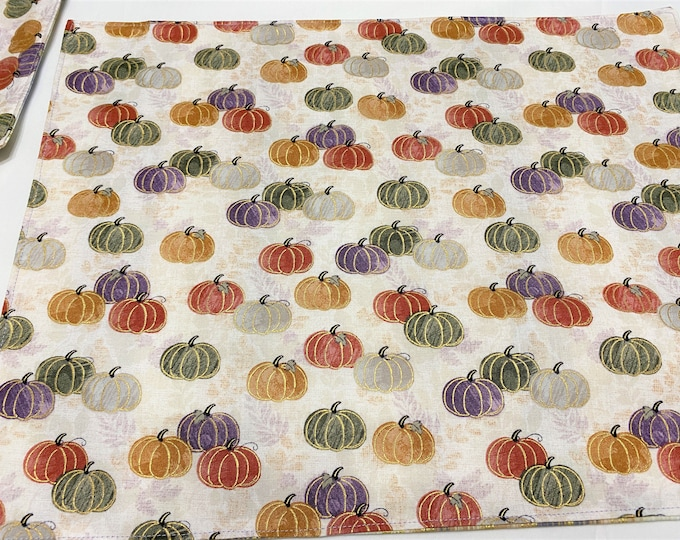 Pumpkin Placemats, Fall Placemats, Pumpkin Table Decor, Pumpkin Decor Table, Reversible Placemats, Orange Placemats, Fall Table Decor