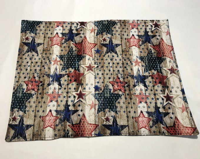 Rustic Placemats, Rustic Patriotic Decor, Rustic Table Mats, Reversible Placemats, Stars and Stripes, Blue Placemats, GIfts for Veterans
