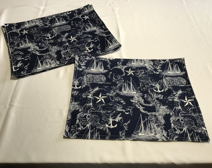 Navy Table Decor, Nautical Table Decor, Navy Nautical Fabric, Ocean Table Decor, Navy Placemats, Ocean Lover Gifts, Gifts for Sailors,