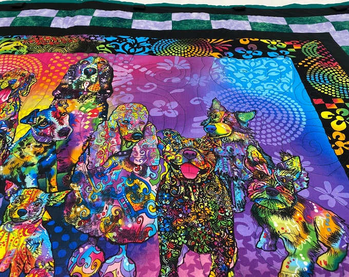 Dog Quilt, Colorful Quilt, Mans Best Friend, Dog Throw, Quilted Wall Hanging, Dog Wall Art, Dog Lover Blanket, Gift for Dog Lovers