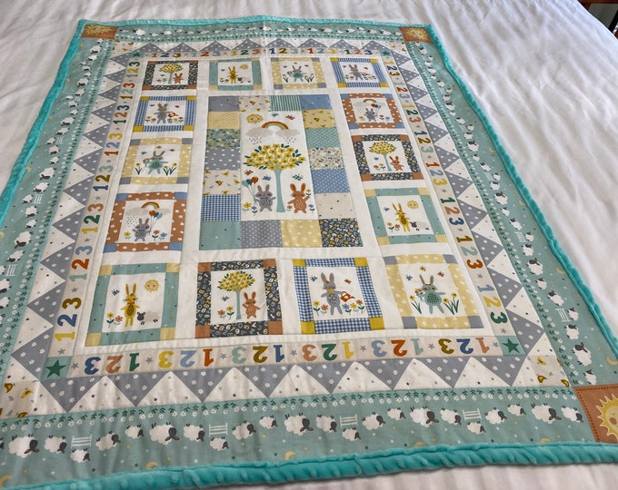 Baby Bunny Quilt, Baby Quilt, Bunny Quilt, Toddler Quilt, Bunny Play Mat, Baby Shower Gift,Childs Gift, Baby Christmas Gift, Active Bunnies
