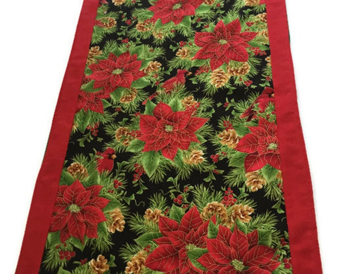 Christmas Table Runner, Red Christmas Runner, Christmas Poinsettias Table Runner, Christmas Gift Mom, Housewarming Gifts,Red Table Decor