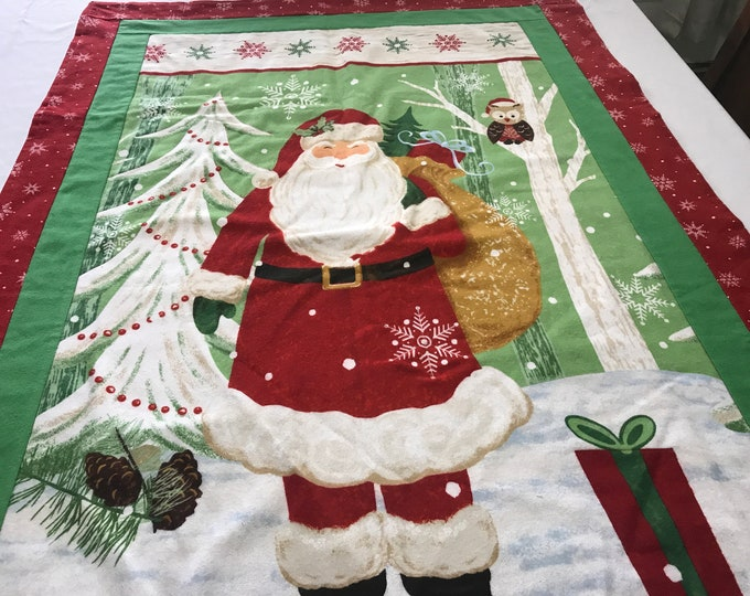 Santa Wall Hanging, Santa Wall Decor, Fabric Santa Decor, Wall Hanging, Quilted Wall Hanging, Santa Throw, Gift for Child, Lap Throw