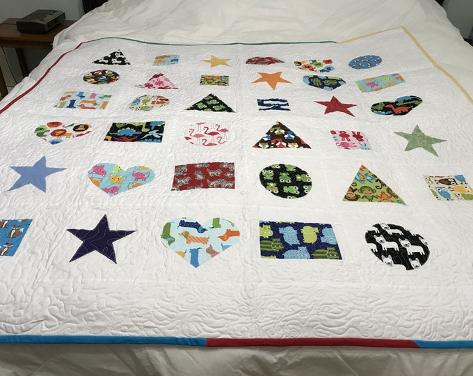 Baby Animal Quilt, Animal Quilt, Baby Play Mat, Learning Quilt, Baby Animal Blanket, Baby Shower Gift, Shapes and Colors, Gift for Baby Boy