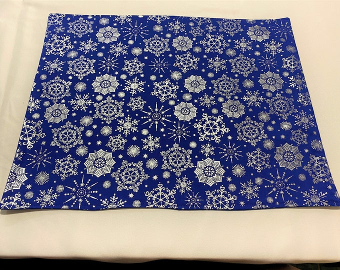 Royal Blue Placemats, Winter Placemats, Silver Snowflakes, Royal Blue Decor, Winter Decor, Christmas Placemats, Table Cover Royal Blue