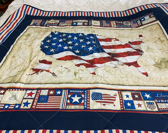 Patriotic Quilt, Patriotic Throw, Lap Quilt, American Flag Quilt, Patriotic Gifts, Gift for Veterans, US Map and Flag, Wall Hanging