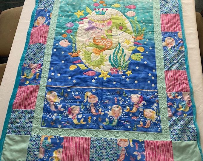 Mermaid Quilt, Mermaid Blanket, Girls Quilt, Gift for Mermaid Lovers, Under the Sea, Fun Gift for Girls, Christmas Gift for Child