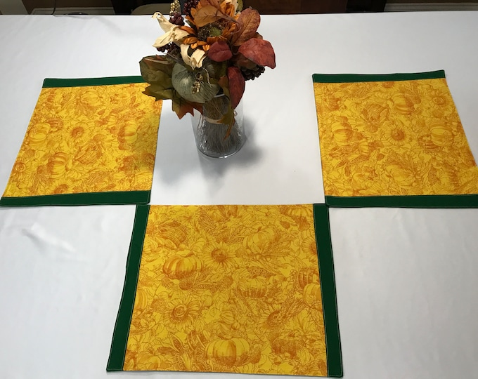 Yellow Placemats, Placemats Yellow, Yellow Table Mats, Fall Placemats, Pumpkins Sunflowers, Kitchen Table Mats, Large Placemats, Dining Mats