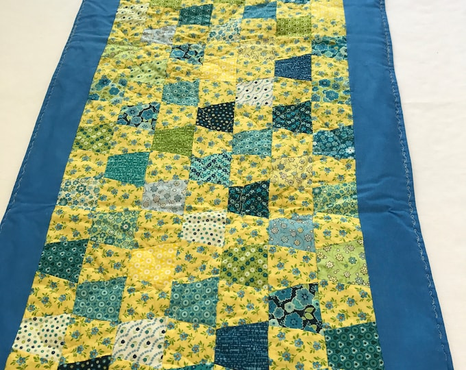 Yellow Table Runner, Yellow Table Topper, Yellow Blue Table Runner, Patchwork Table Topper, Quilted Table Runner, Housewarming Gifts, OOAK