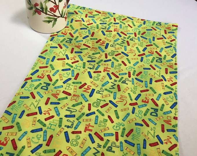 Yellow Table Runner, Kitchen Runner Yellow, Yellow Table Decor, Teacher Appreciation Gifts, Teachers Room Decor, Alphabet Fabric, Fun Runner