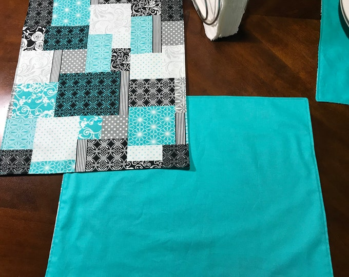 Teal Table Decor, Teal Modern Fabric, Modern Table Decor, Teal Placemats, Modern Placemats, Teal Table Mats, Housewarming Gifts, OOAK Mats