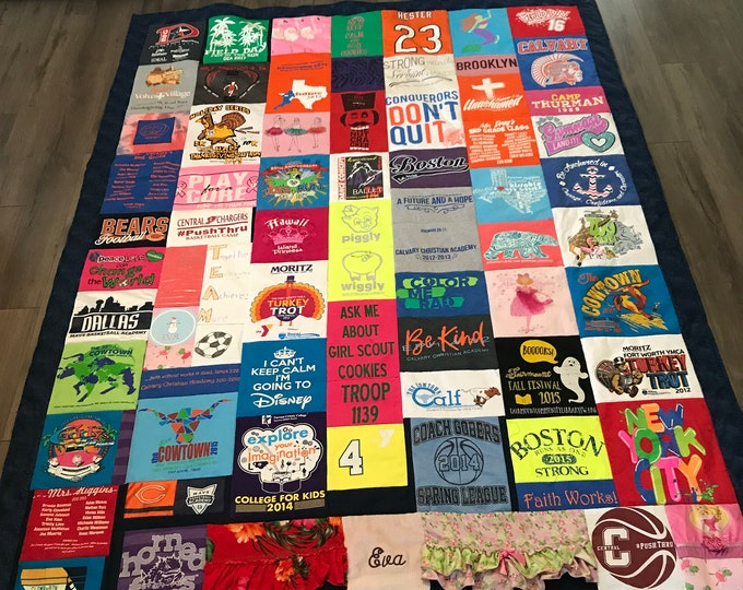 Memory Quilt, Custom Memory Quilt, Memory Blanket, T shirt Quilt, Keepsake Quilt,Graduation Gift, Birthday Gifts, Personal Quilt, OOAK Quilt