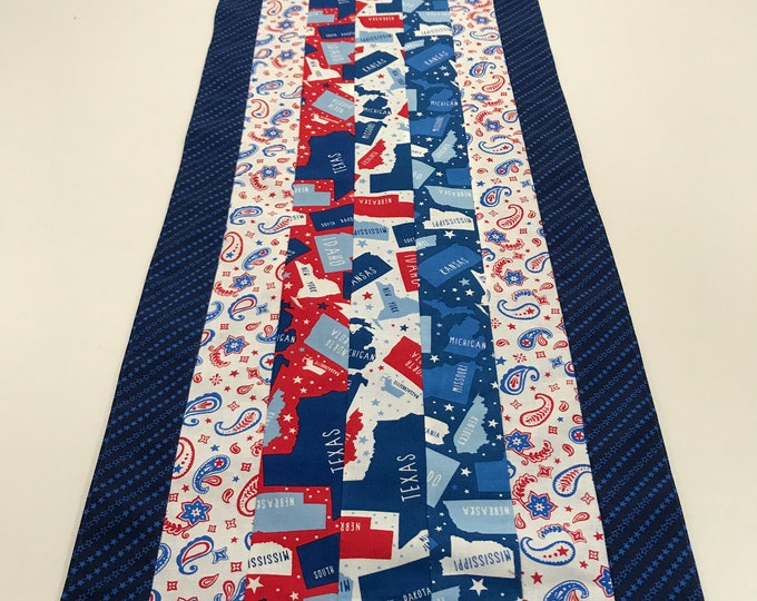 Patriotic Table Runner, Patriotic Table Decor, Patriotic Gifts, 4th of July Table Runner, Blue and White Table Runner, Americana Runner