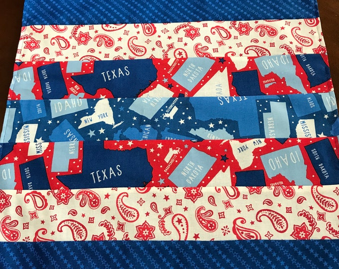 Red White and Blue Placemats, Patriotic Placemats, Red White Blue Placemats, Kitchen Placemats, Gifts for Veterans,Patriotic Gifts, Set of 2