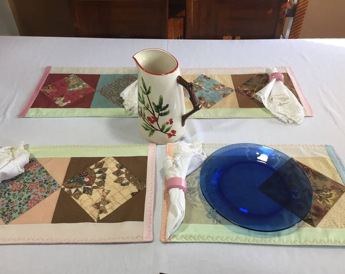 Floral Table Linens, Floral Placemats,Floral Table Decor, Kitchen Table Linens, Linen Table Mat, Set of 4 Placemats, OOAK Placemats