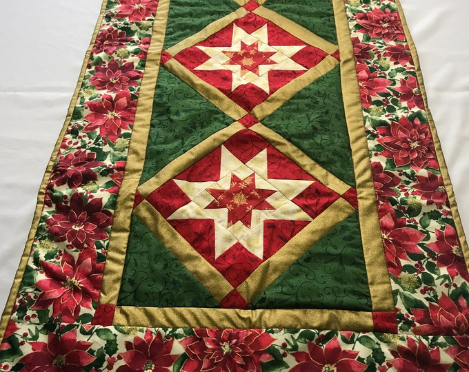 Quilted Christmas Table Runner, Quilted Table Runner, Quilted Christmas Runner, Christmas Table Runner, Gifts for Mom, Wedding Gifts, Gifts