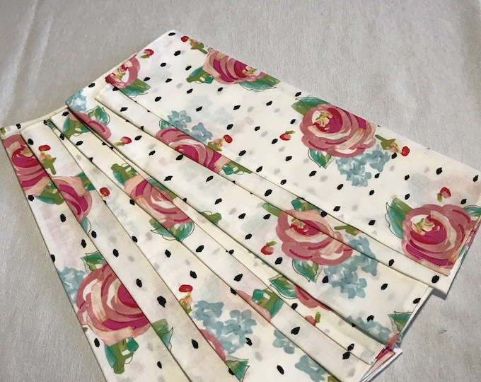 Cloth Napkins Set, Cloth Dinner Napkins, Set of Cloth Napkins, Fabric Napkins, Mothers Day Gift,Set of 6 Napkins, Rose Napkins,White Napkins