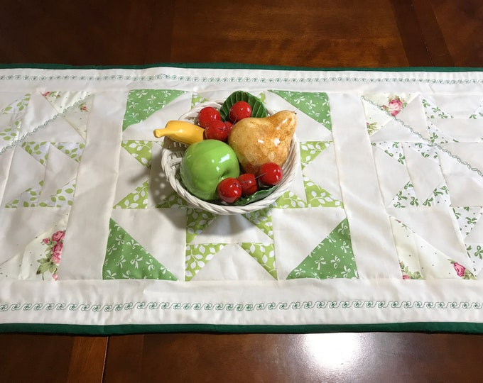 Quilted Table Runner, Ivory Table Runner, Quilted Table Topper, Table Runner Quilted, Patchwork Table Runner,Birthday Gift Mom, Gift for Her
