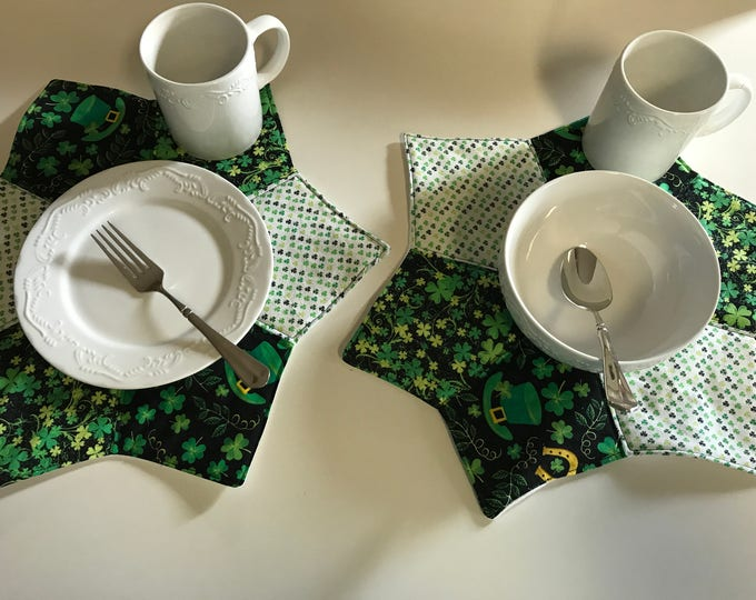 St Patricks Table, St Patricks Placemats, St Patricks Table Decor, St Patricks Party, Small Placemats,Green Placemats, St Patricks Mug Rugs