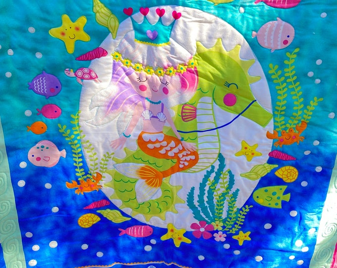 Mermaid Quilt, Mermaid Blanket, Turquoise Quilt, Girls Mermaid Quilt, Under the Sea Quilt, Cuddly Blanket, Young Girls Gifts, Mermaid Throw