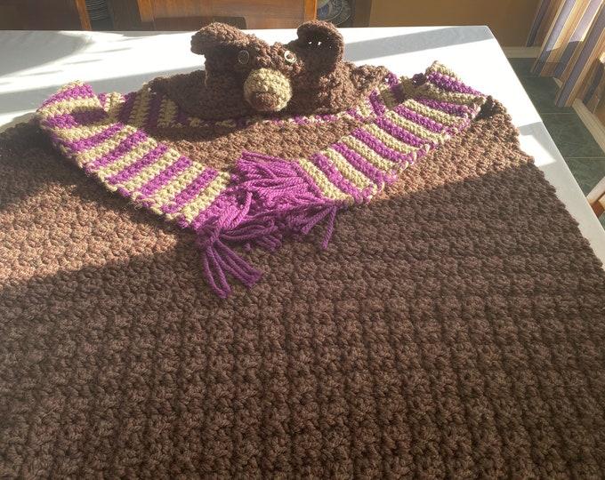 Bear Blanket, Crochet Bear Blanket, Kids Bear Blanket, Gift for Toddler, Gift for Young Child, Bear Head Blanket, All in One Blanket,