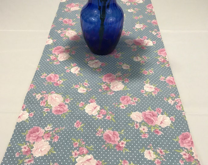 Table Runner Blue, Table Runner Floral, Blue Floral Table Runner,Floral Table Runner, Blue Table Runner, Gifts for Mom, Housewarming Gift