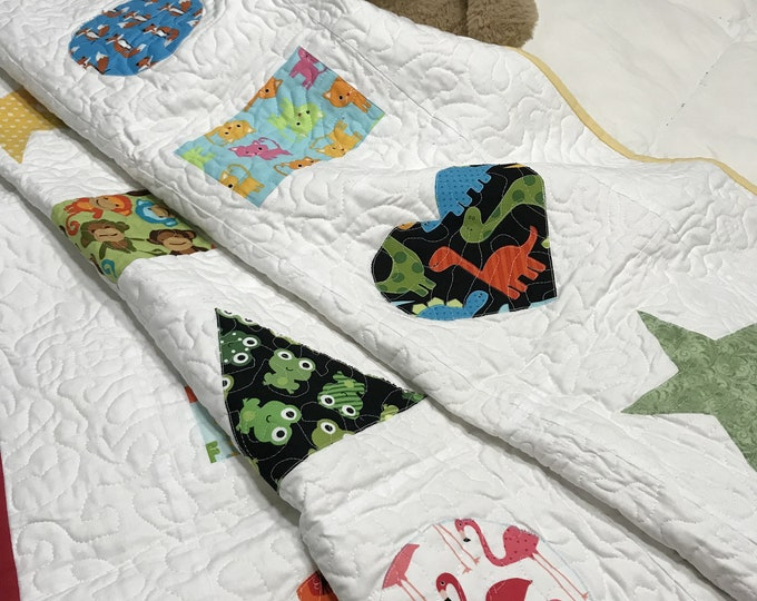 Baby Animal Quilt, Large Baby Blanket, Baby Animal Blanket, Animal Quilt, Baby Play Mat,Quilted Baby Quilt,Learning Shapes,Shapes and Colors
