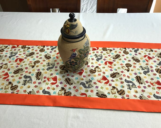 Dining Table Runner, Dining Table Decor,Fall Dining Table Decor, Woodland Creatures, Falling Leaves, Rustic Table Runner,Fun Table Runner