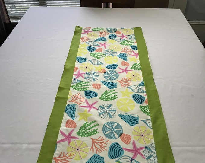 Beach Table Runner, Beach Table Decor, Reversible Table Runner, Beach Theme Decor, Colorful Table Runner, Kitchen Linens, Housewarming Gifts
