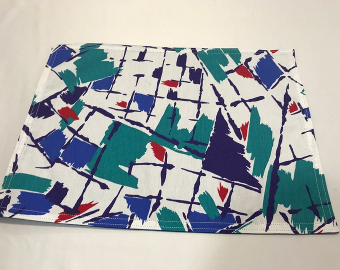 Cloth Placemats, Cloth Place Mats, Blue Green Placemats, Cloth Table Mats, Reversible Placemats, Housewarming Gifts, Geometric Placemats