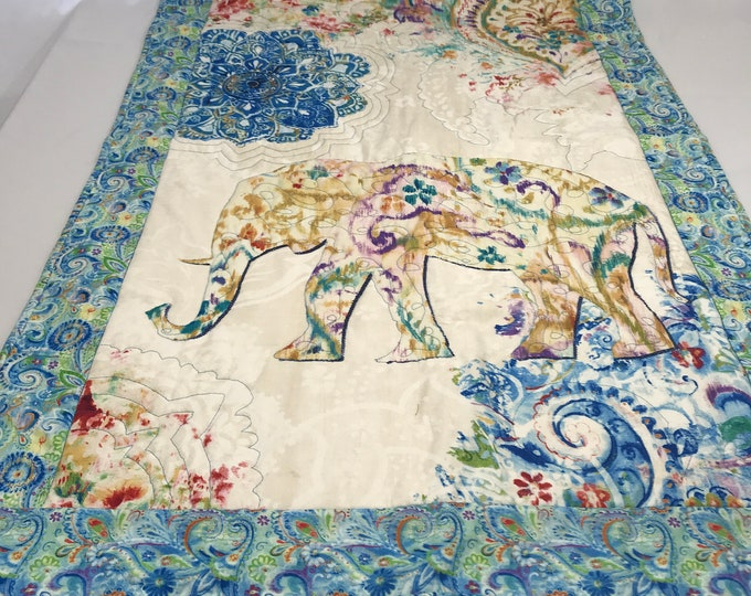 Quilted Wall Decor, Elephant Wall Decor, Quilted Elephant Throw, Quilted Nursery Decor, Boho Wall Decor, Quilted Boho Decor, Wedding Gifts