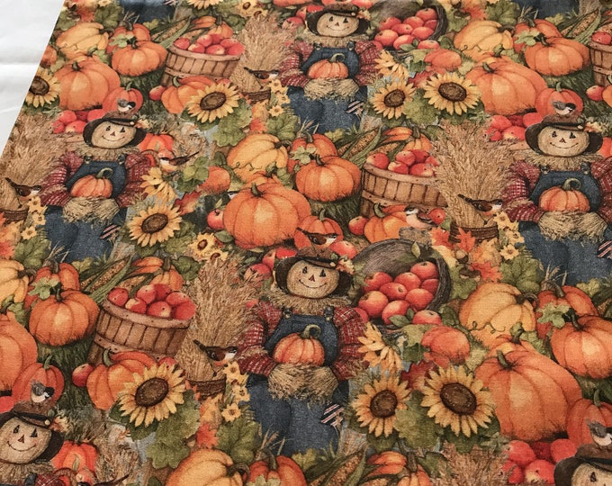 Autumn Table Runner, Autumn Table Decor, Autumn Table Topper, Fall Table Runner, Fall Decor, Scarecrows and Pumpkins,Reversible Table Runner