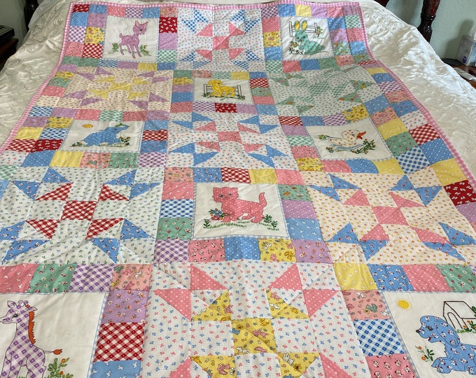 Childs Quilt, Toddler Quilt, Childs Quilt With Embroidery, Small Animal Quilt, Twin Size Quilt, Young Girls quilt, Birthday Gift for Girl