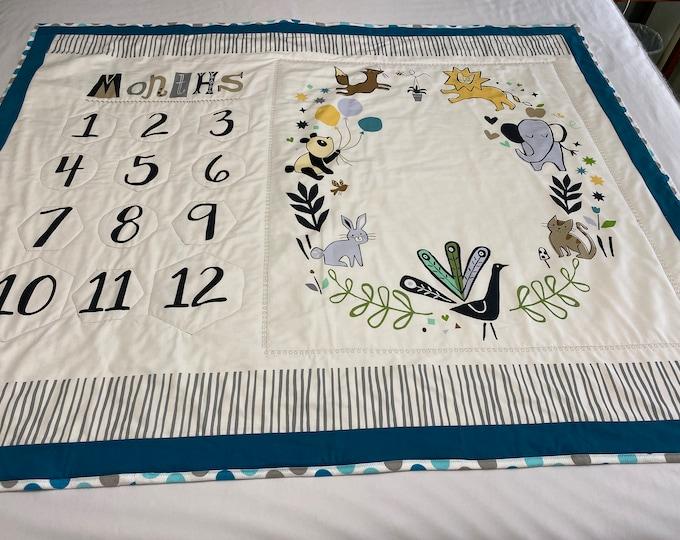 Baby Milestone Blanket, Milestone Blanket, Gender Neutral Baby Blanket, Baby Milestones, Baby Month Mat,Baby Shower Gift,Gender Neutral Gift