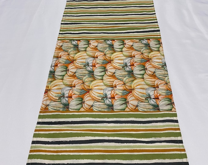 Pumpkin Table Runner, Fall Table Runner, Reversible Table Runner, Striped Pumpkins, Pumpkin Table Decor, Orange and Green Stripes