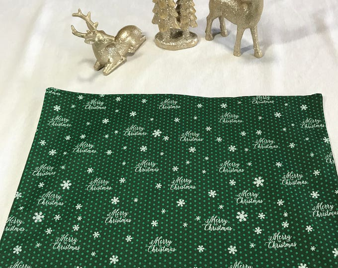 Green Placemats, Green Place Mats, Green White Placemats, Christmas Placemats, Christmas Table Decor, Office Party Gifts,Set of 6 Placemats