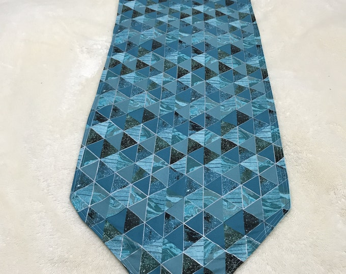 Teal Table Decor, Teal Table Linen, Geometric Table Decor, Teal Table Runner, Table Decor Linen, Blue Green Decor, Reversible Table Runner