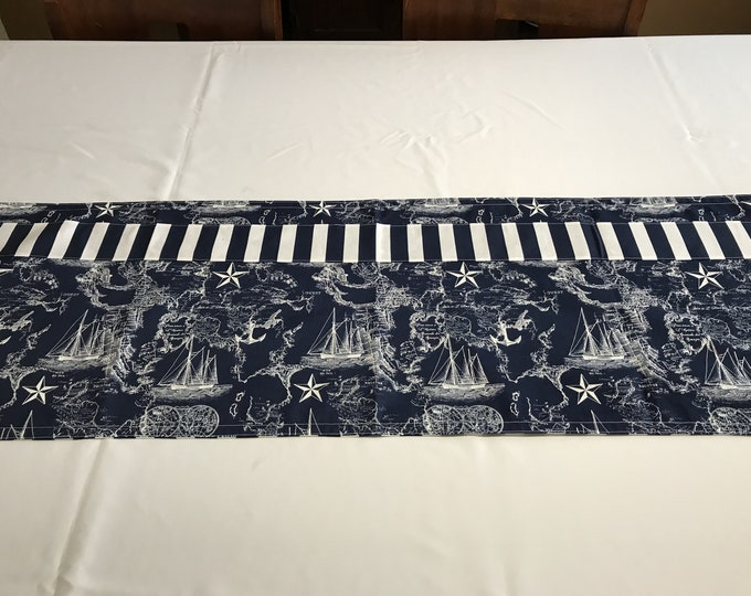 Nautical Table Decor, Nautical Table Runner, Navy Table Decor,Blue Nautical Decor,Reversible Table Runner,Gifts for Sailors,Ocean Lover Gift