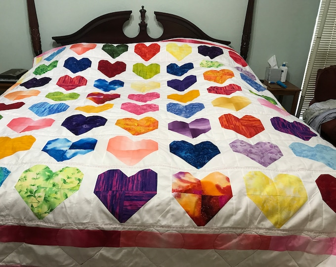 Heart Quilt, Heart Quilt Throw, Heart Blanket, Custom Heart Quilt, Mothers Day Gift, Sweetheart Gift, Gift for Her, I love You Quilt
