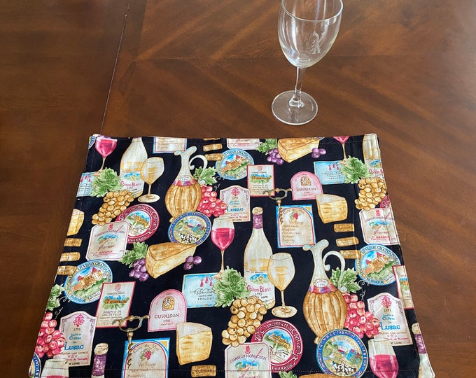 Wine Table Decor, Wine Table Linens, Wine & Cheese Decor, Wine Placemats, Wine Motif, Wine Lover Gifts, Table Linen Set, Table Linen Gifts