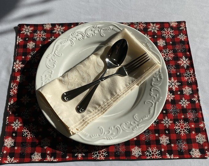 Buffalo Plaid Christmas, Buffalo Plaid Christmas Decor, Buffalo Plaid Placemats, Christmas Placemats, Winter Placemats, Gifts for Family