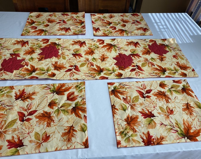 Quilted Fall Table Runner, Quilted Fall Table Topper, Fall Table Runner, Fall Color Table Runner, Quilted Table Runner, Reversible Runner,
